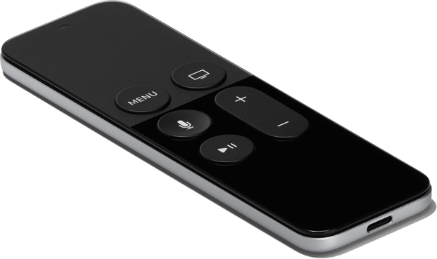 Siri Remote da Apple TV de frente e de lado