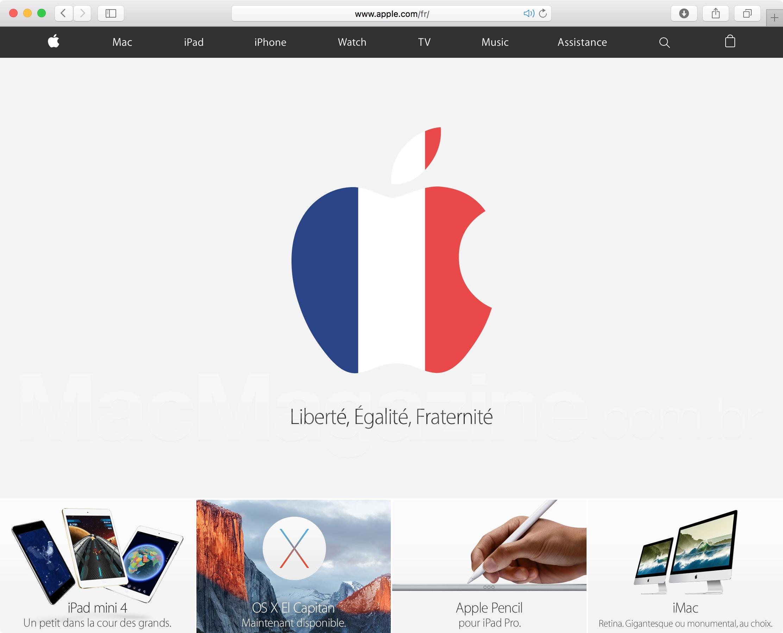 Site francês da Apple com homenagem às vitimas do atentado em Paris