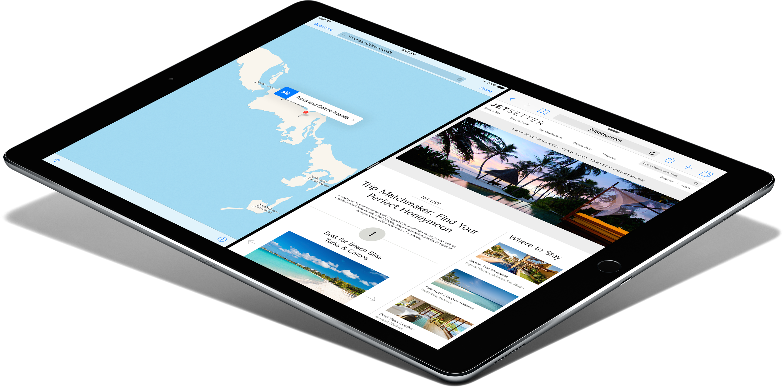 iPad Pro de lado com dois apps abertos lado a lado