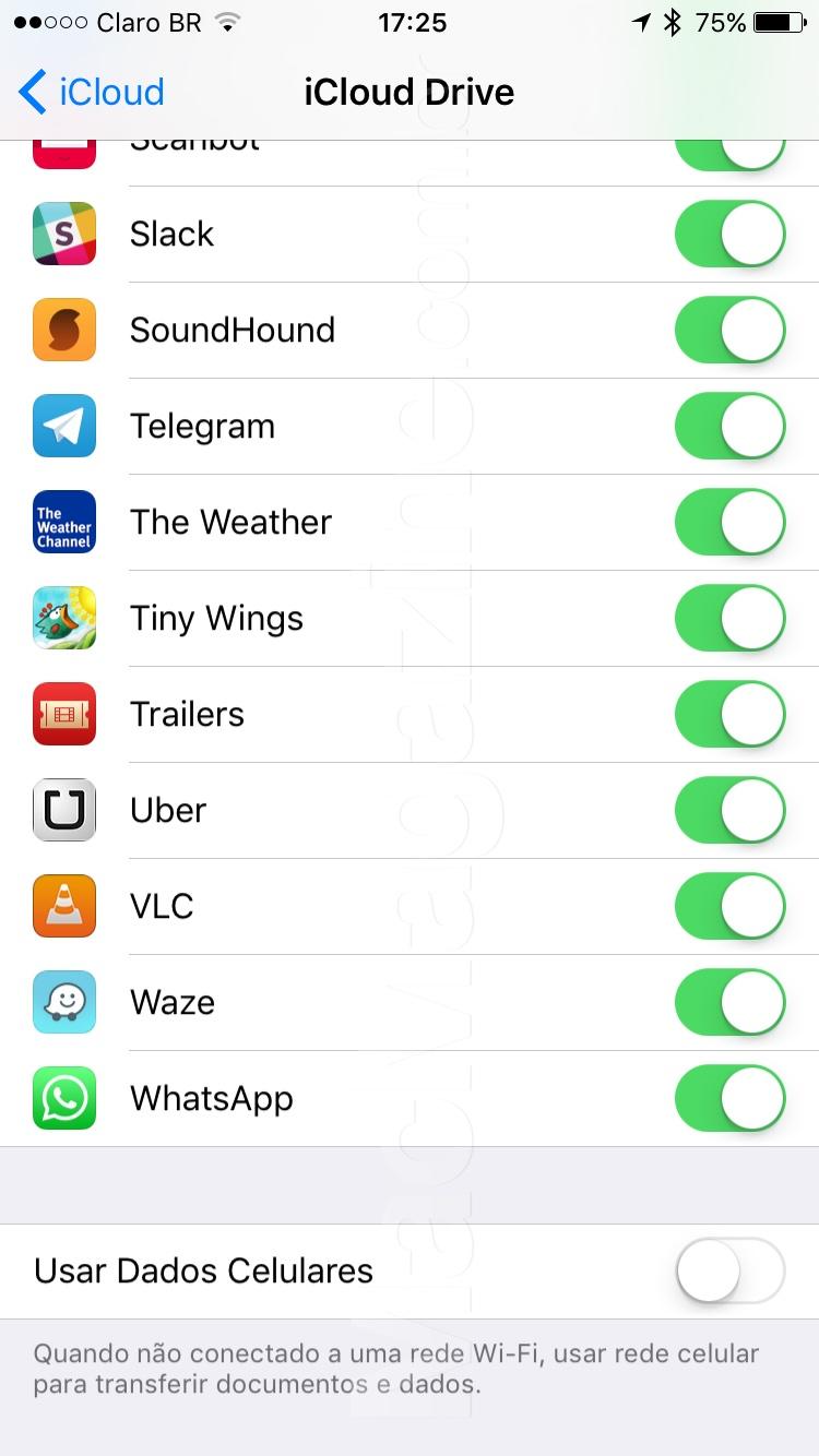 Consumo de dados celular no iOS