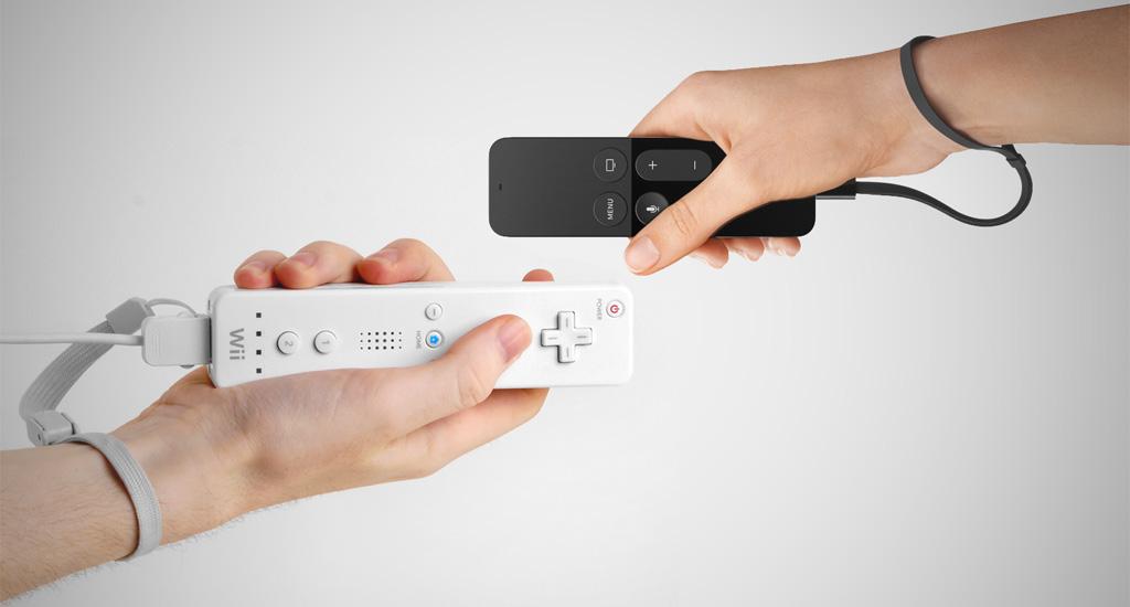 Controles do Nintendo Wii e da Apple TV
