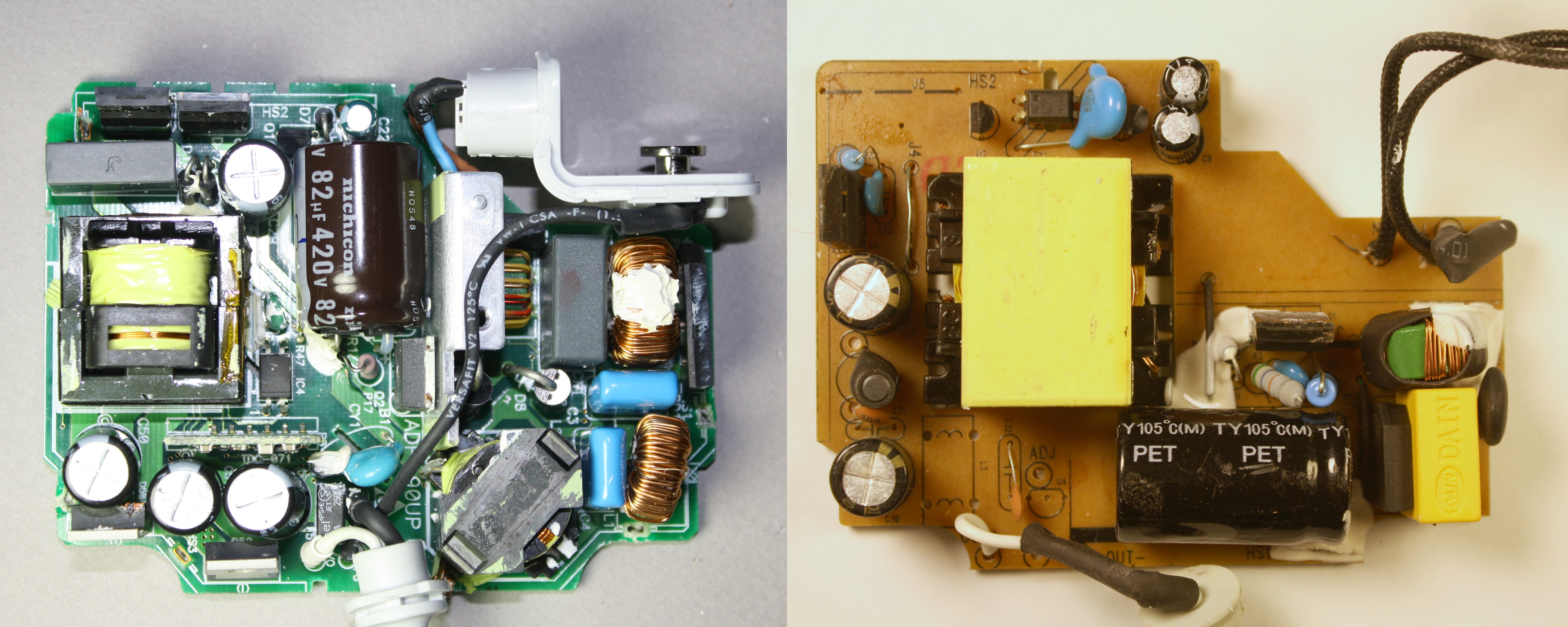 Carregador de MacBook original vs. falsificado
