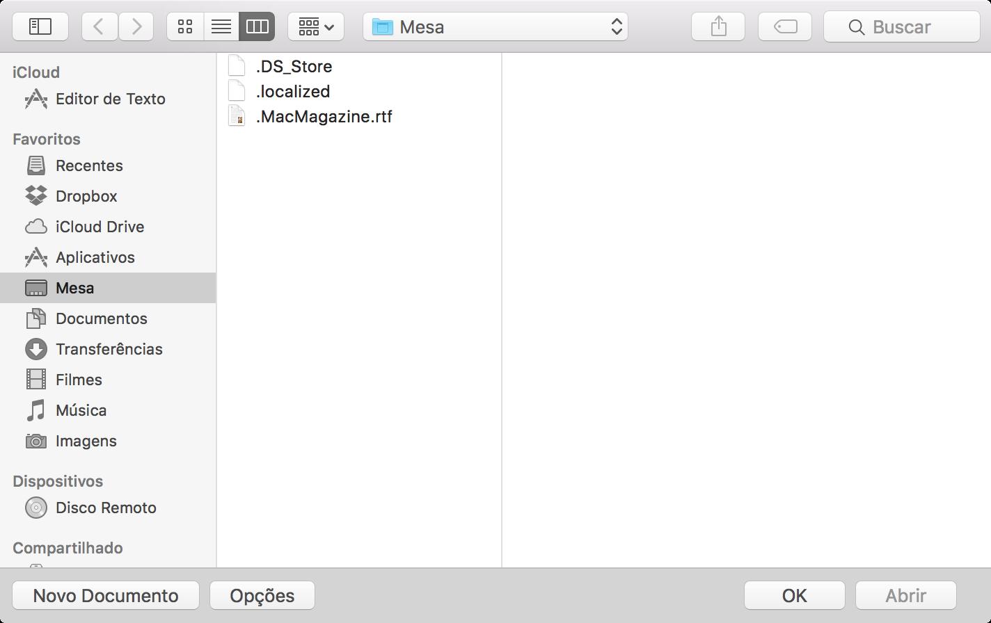 Arquivo escondido no OS X