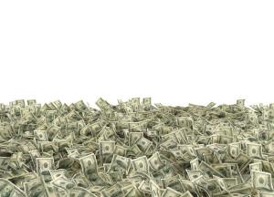 Dólares na parte inferior de uma imagem branca