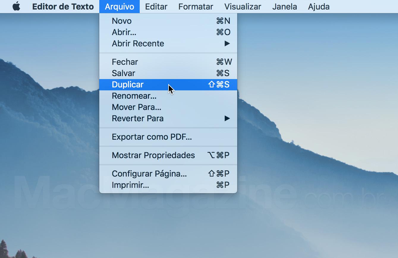 Duplicar no menu Arquivo do Editor de Texto