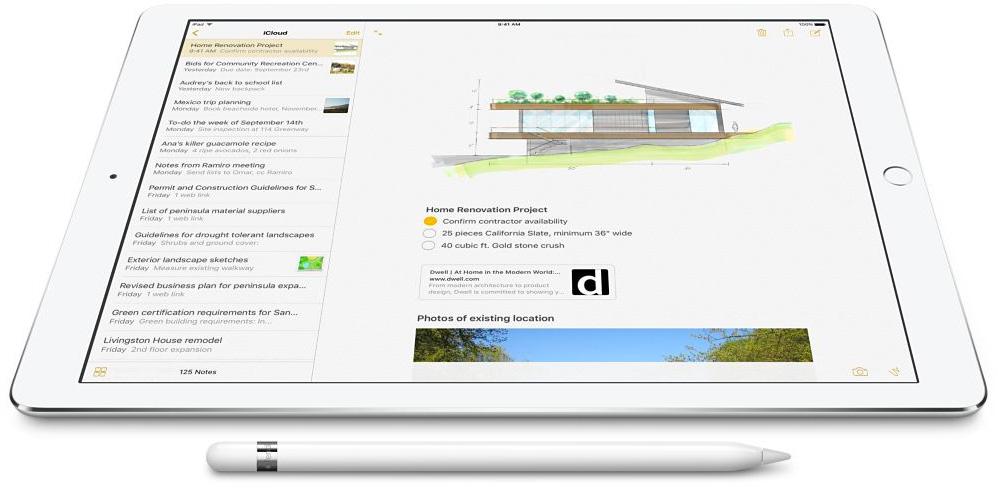iPad Pro branco com Apple Pencil na frente