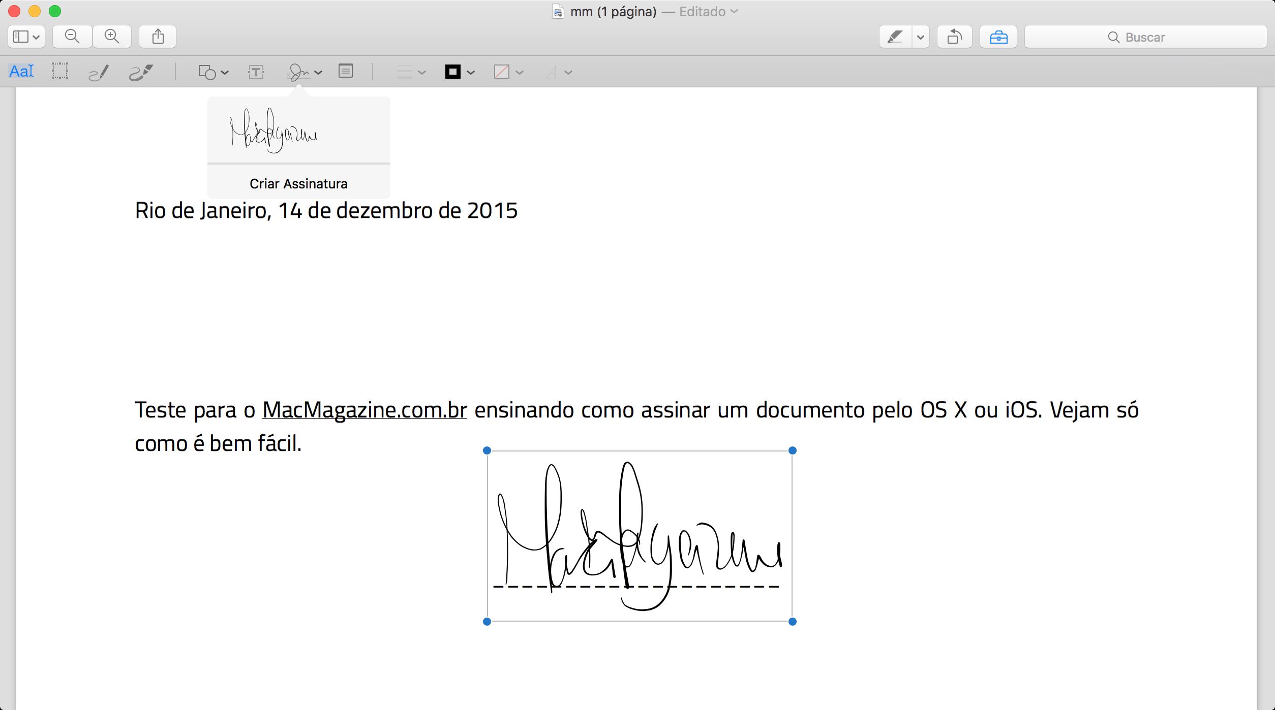 Assinando um documento no Mac