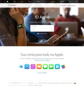 Página para gerenciar IDs Apple