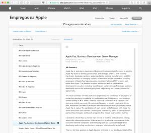 Vaga do Apple Pay no Brasil