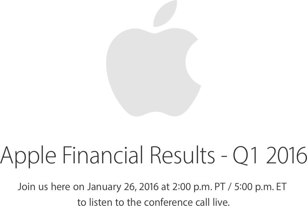 Resultados financeiros da Apple - FQ1 2016