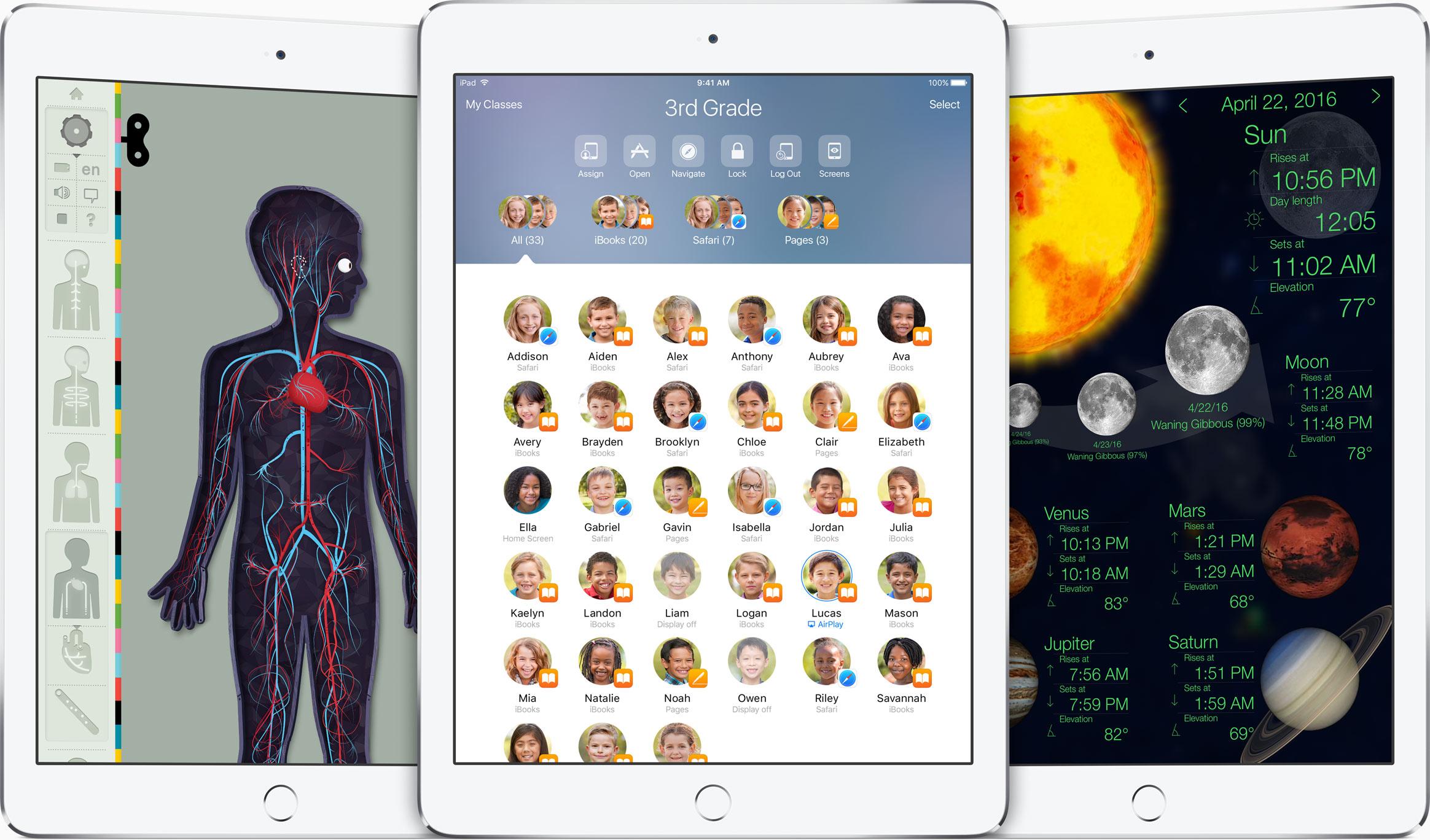 iOS 9.3 em iPads para educação