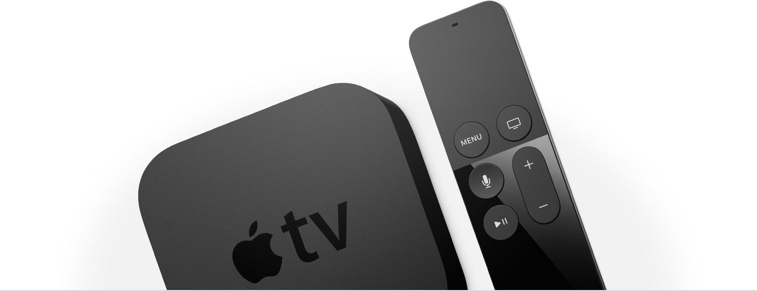 Apple TV de quarta geração com Siri Remote cortados e meio de lado