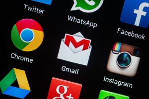 Ícones de apps num Android - Chrome, Gmail, WhatsApp, Facebook, Drive…