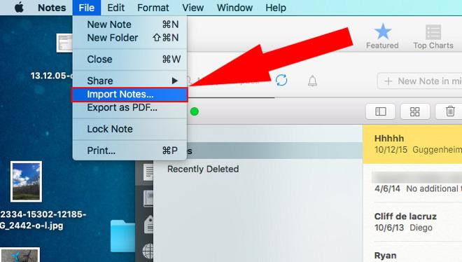 Importando Notas no OS X 10.11.4