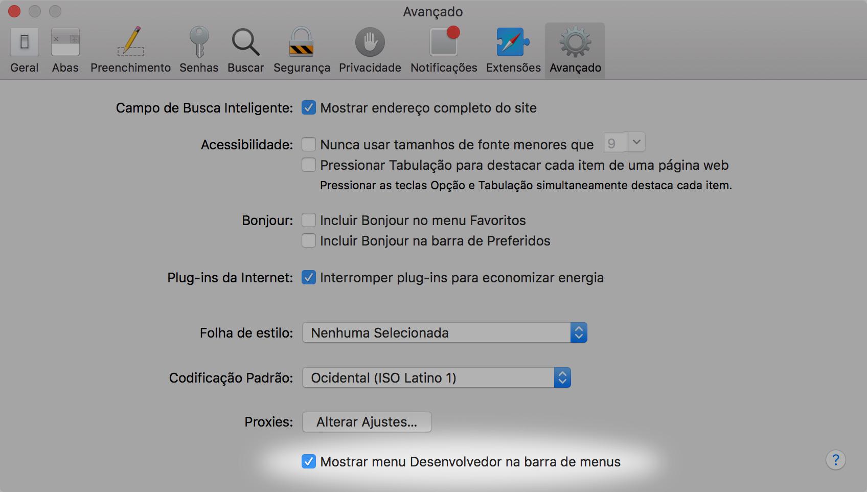 Ativando o menu de desenvolvedor no Safari