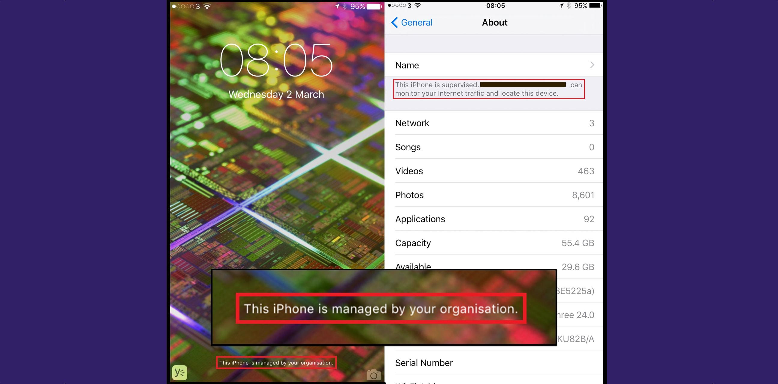 Aviso de monitoramento no iOS 9.3