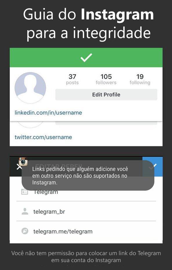 Instagram bloqueando Telegram e Snapchat