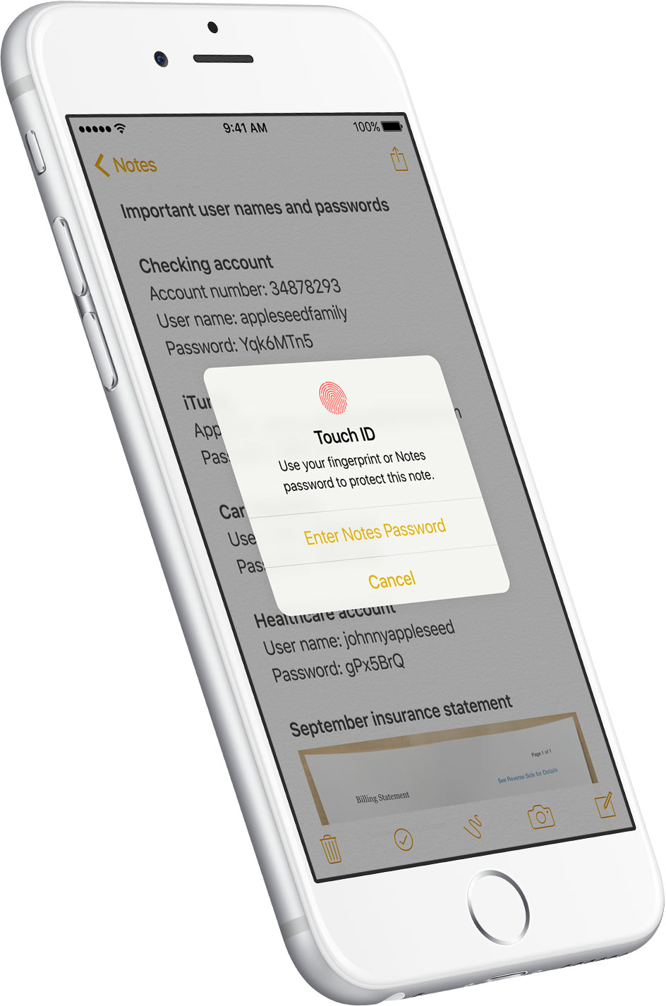 Notas no iOS 9.3