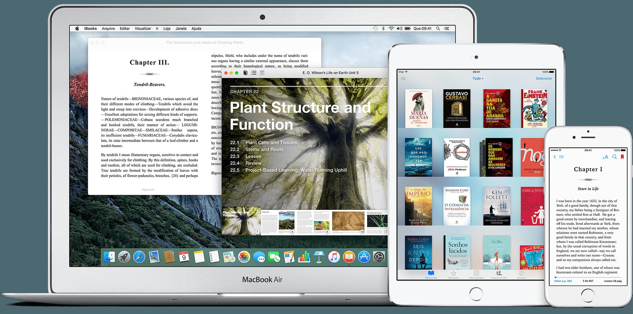 iBooks no MacBook Air, no iPad mini e no iPhone 6/6s