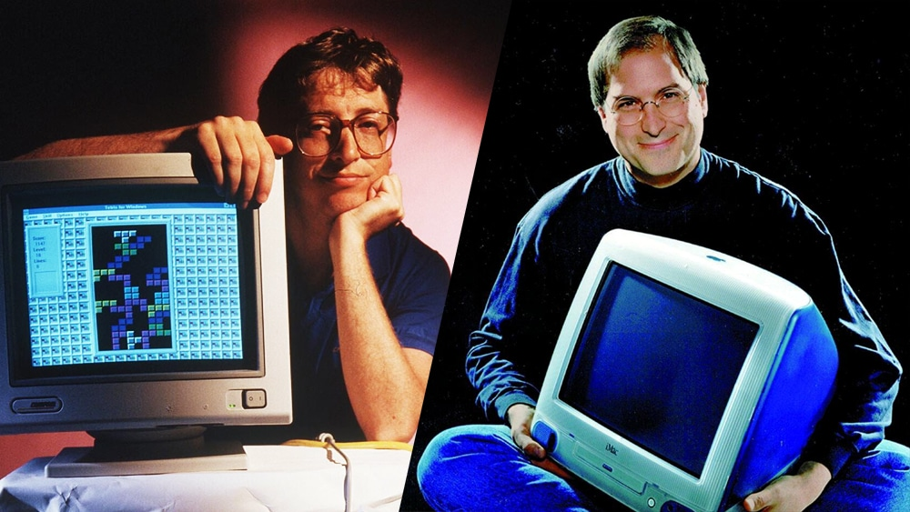 Bill Gates e Steve Jobs (foto antiga)