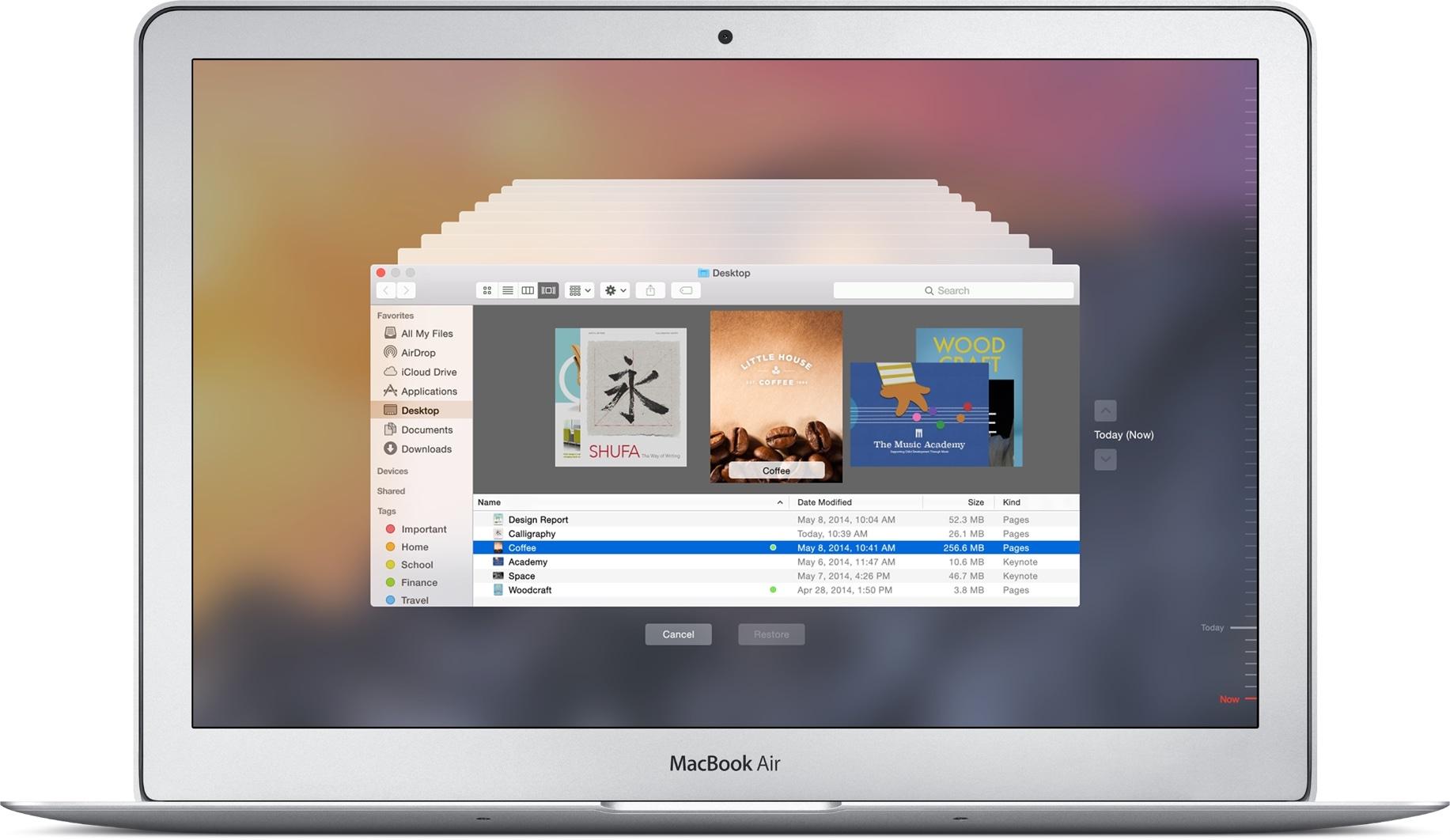 Time Machine rodando em um MacBook Air