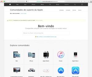 Comunidades de suporte da Apple em português