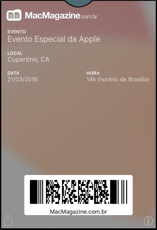 Tíquete - Evento especial da Apple em março de 2016