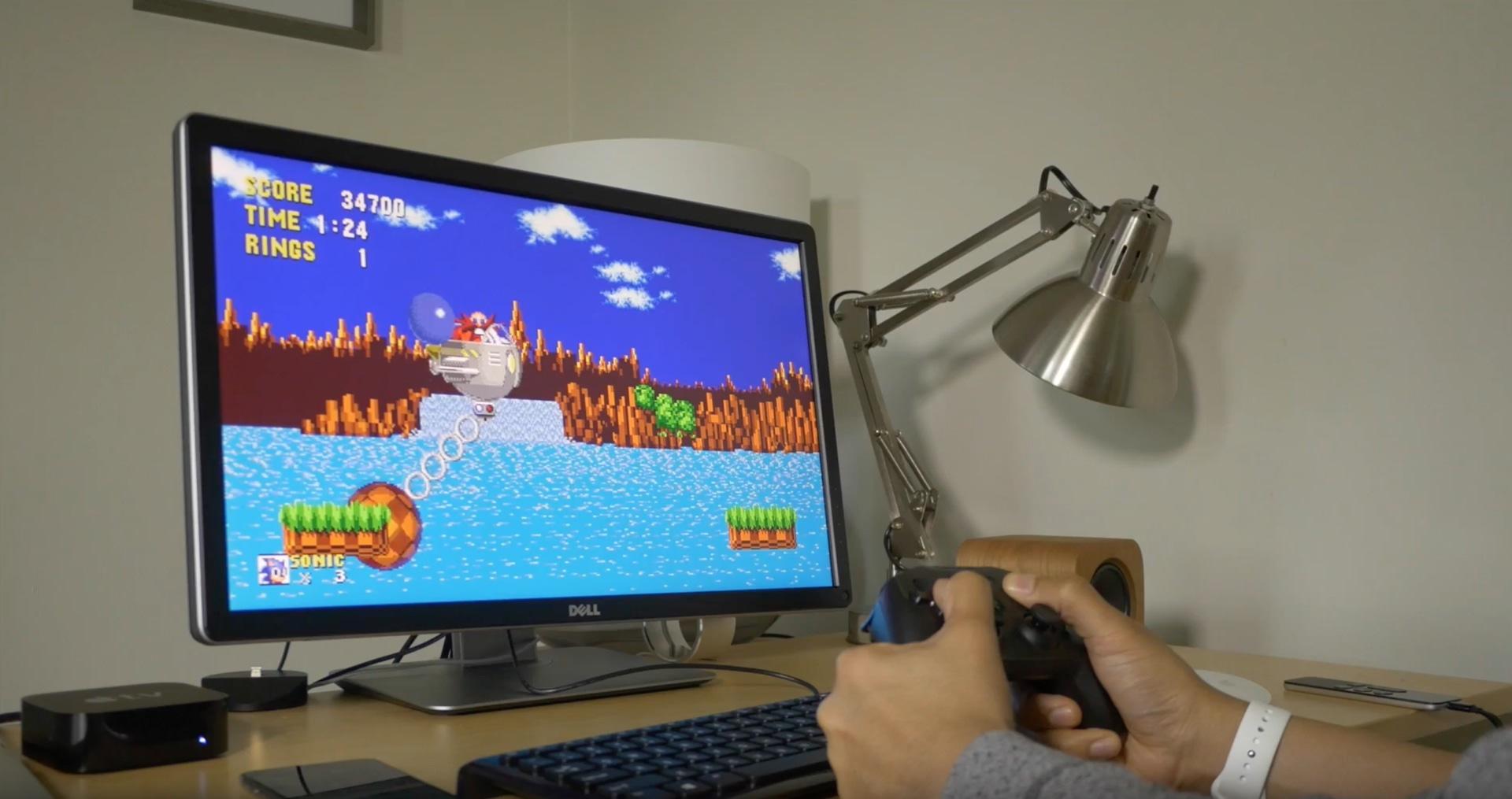 Jogo Sonic The Hedgehog rodando no tvOS