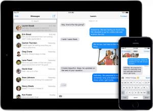 iMessage com mensagens em iPad e iPhone