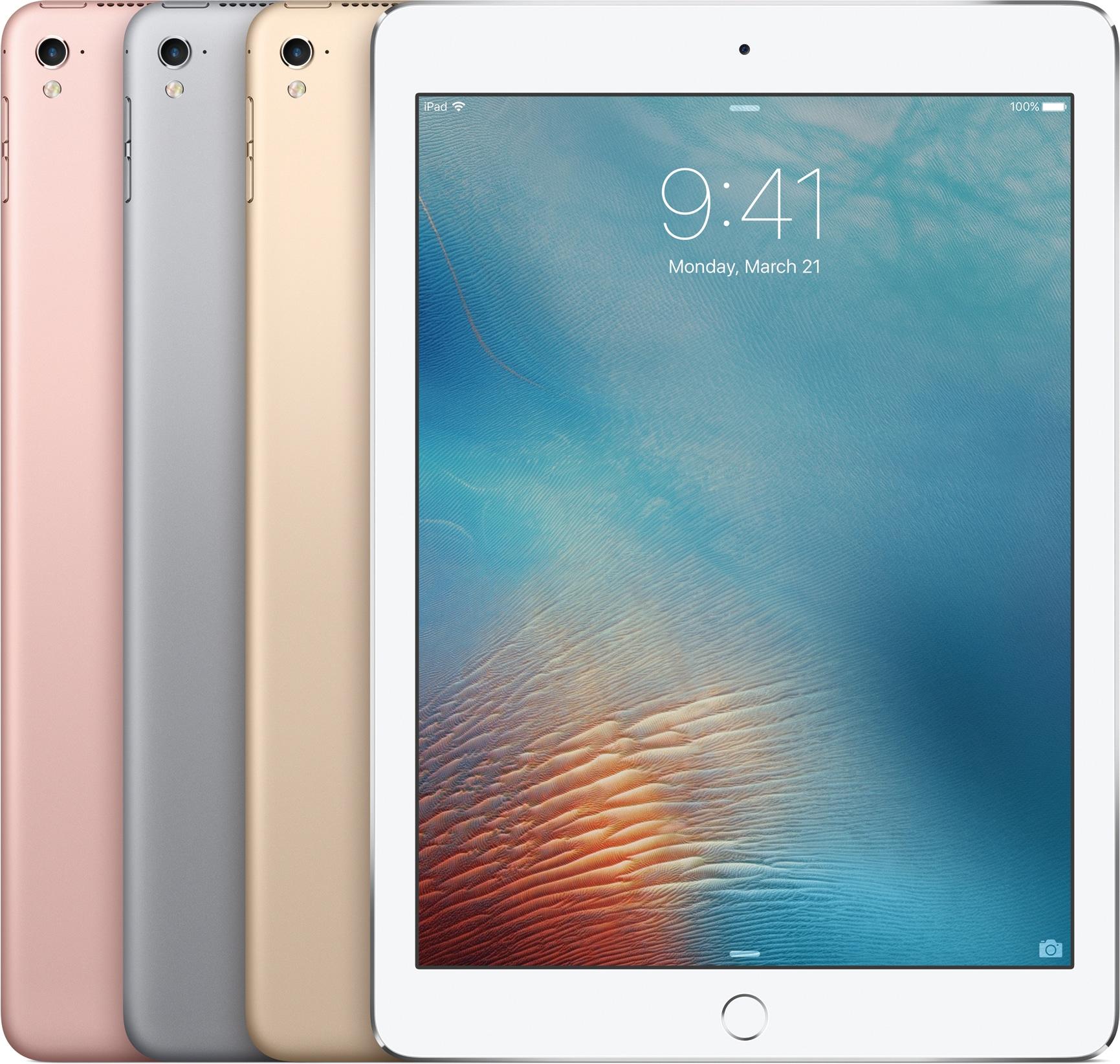 Família do iPad Pro de 9,7 polegadas com as quatro cores lado a lado