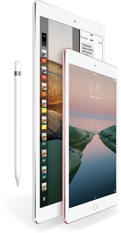 Apple Pencil ao lado dos iPads Pro de 12,9 e 9,7 polegadas
