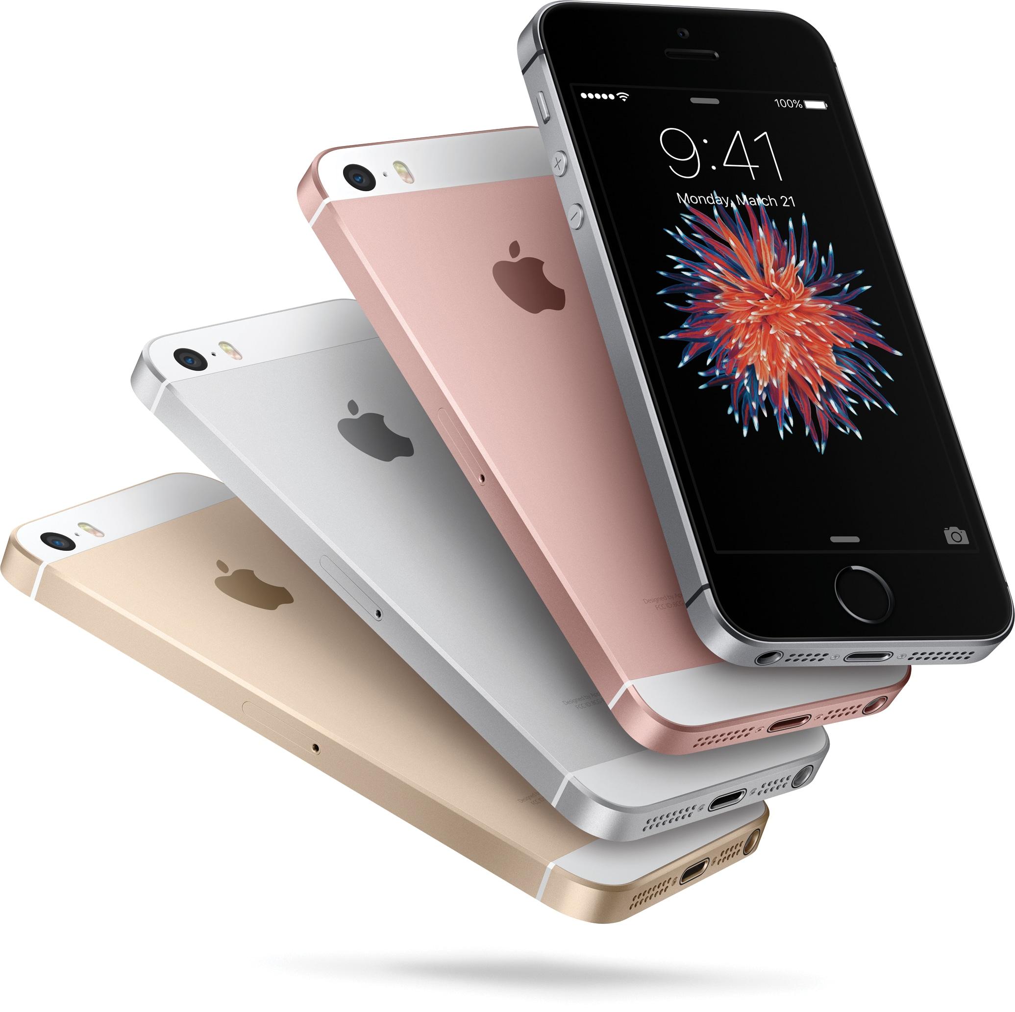 iPhones SE em todas as cores voando