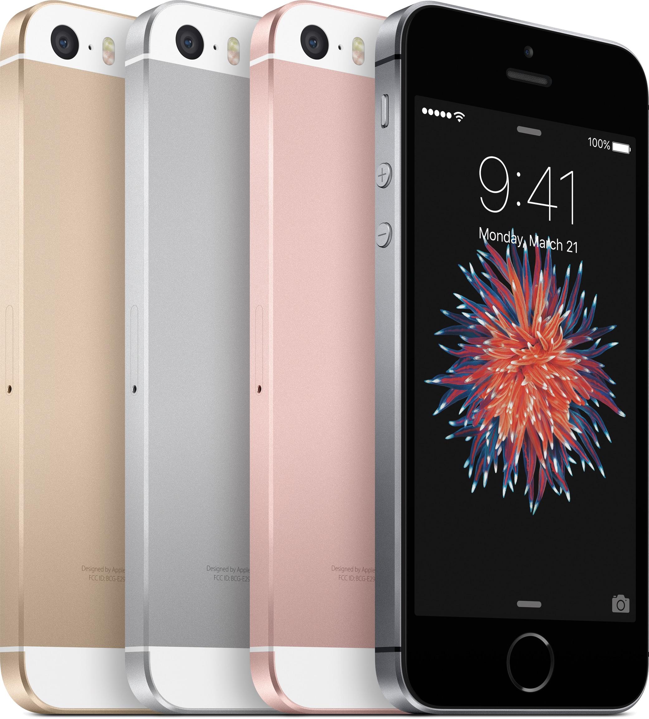 iPhones SE em todas as cores lado a lado