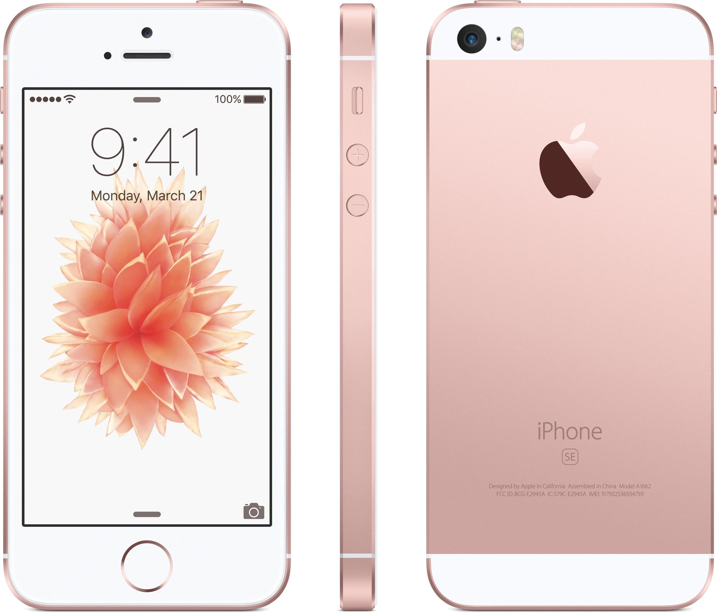 iPhone SE ouro rosé de frente, de lado e de costas
