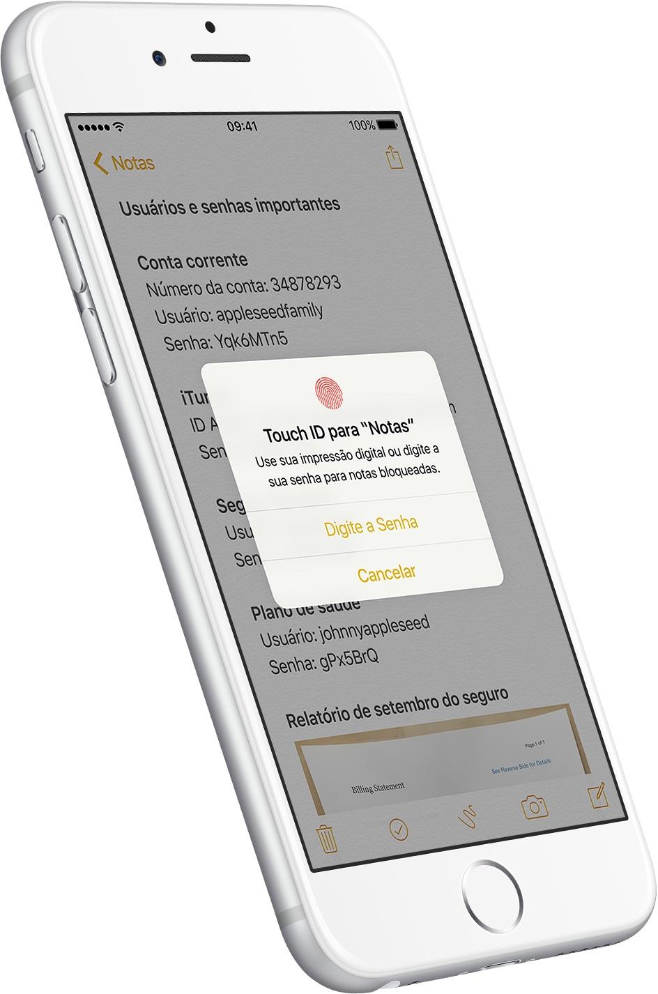 Notas com senha no iOS 9.3