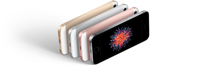 iPhones SE nas suas quatro cores inclinados e de lado