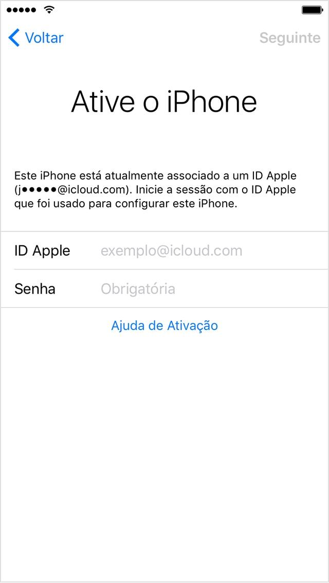 Tela de ativação do iOS
