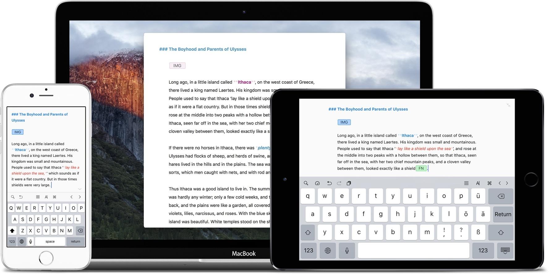 App Ulysses para iOS e OS X