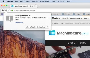 Notificações push do MacMagazine no Firefox