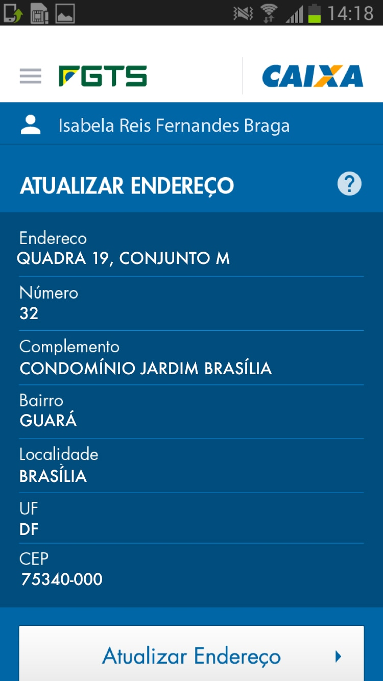 Screenshot do app FGTS da CAIXA no Android