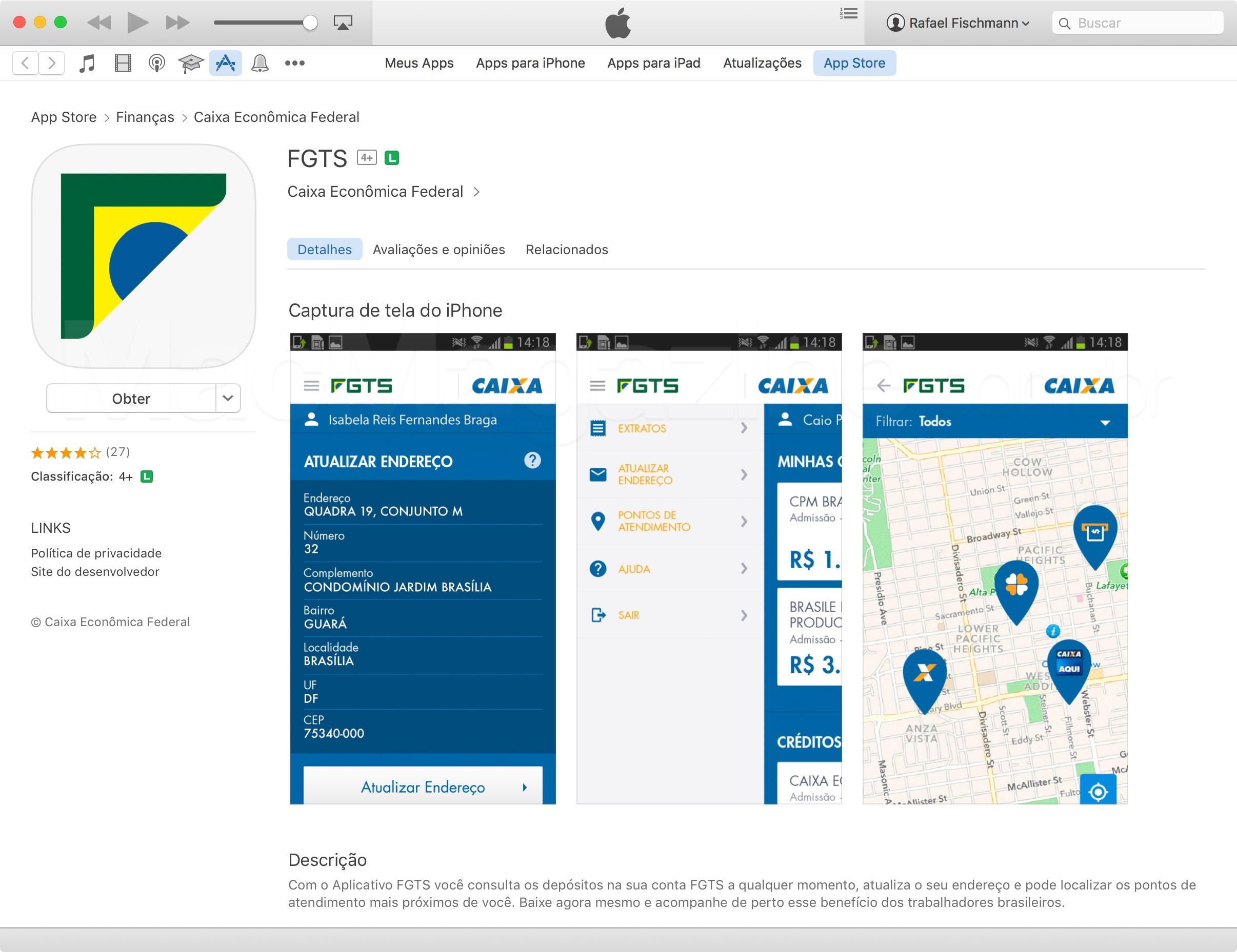 FGTS na App Store com screenshots de Android