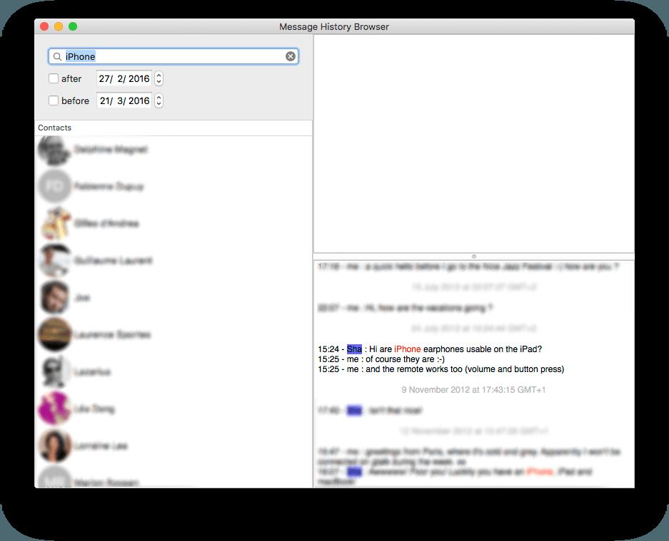 Screenshot do MessagesHistoryBrowser