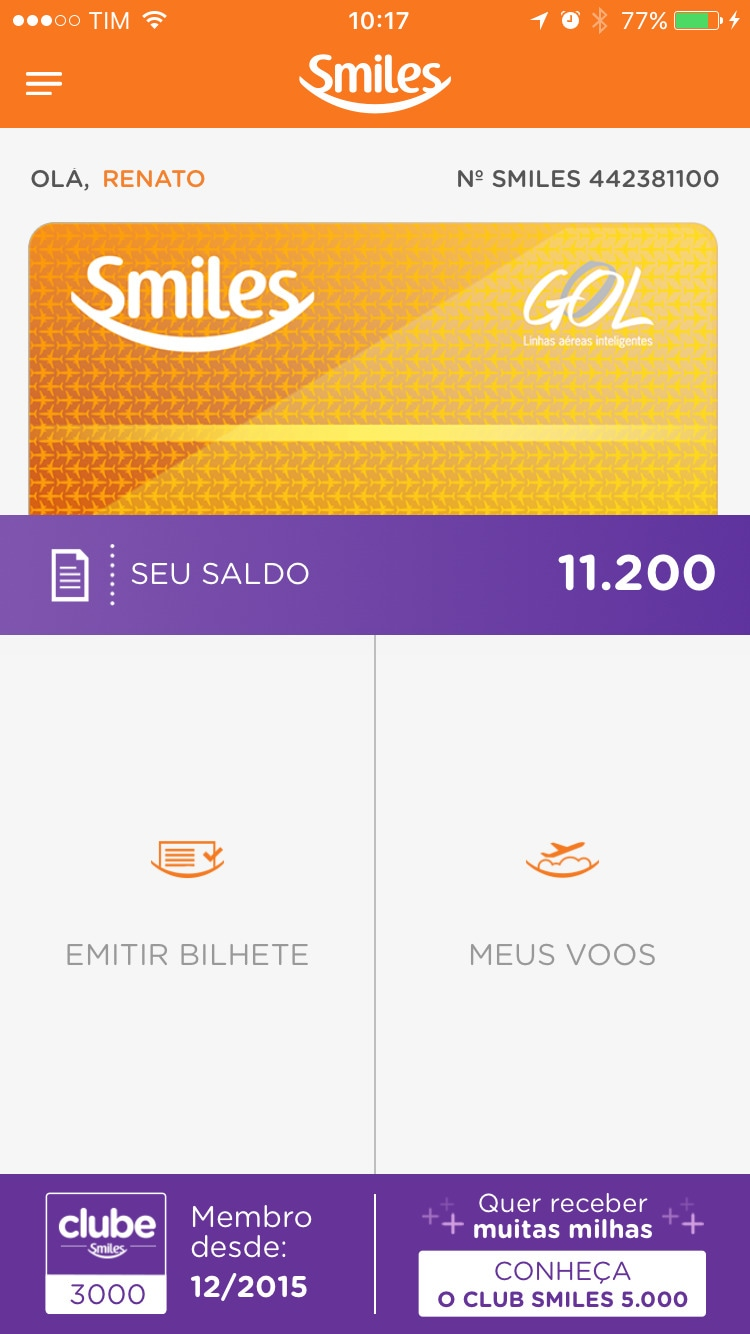 App do Smiles para iPhone