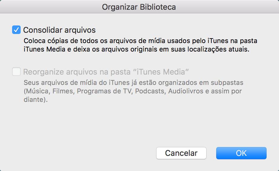 Consolidando uma biblioteca do iTunes
