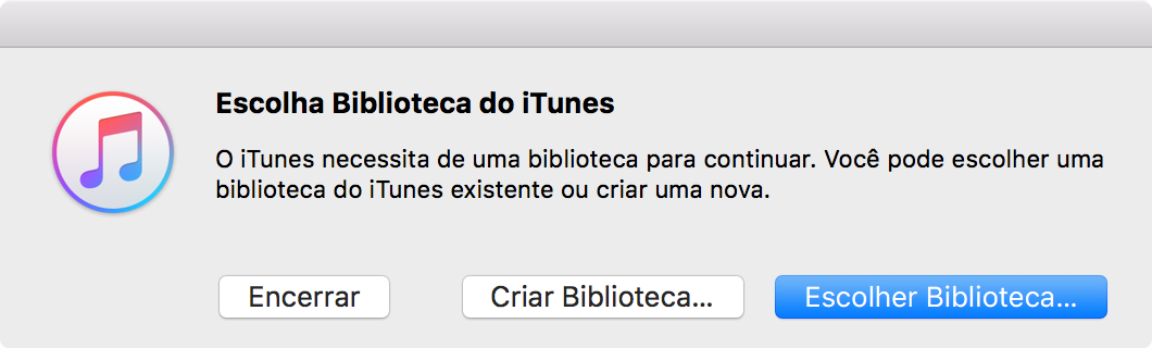 Escolhendo uma biblioteca do iTunes