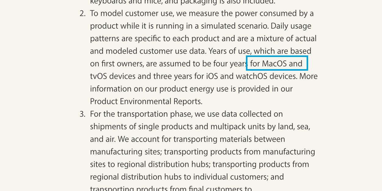 """Referência a """"MacOS"""" no site da Apple"""