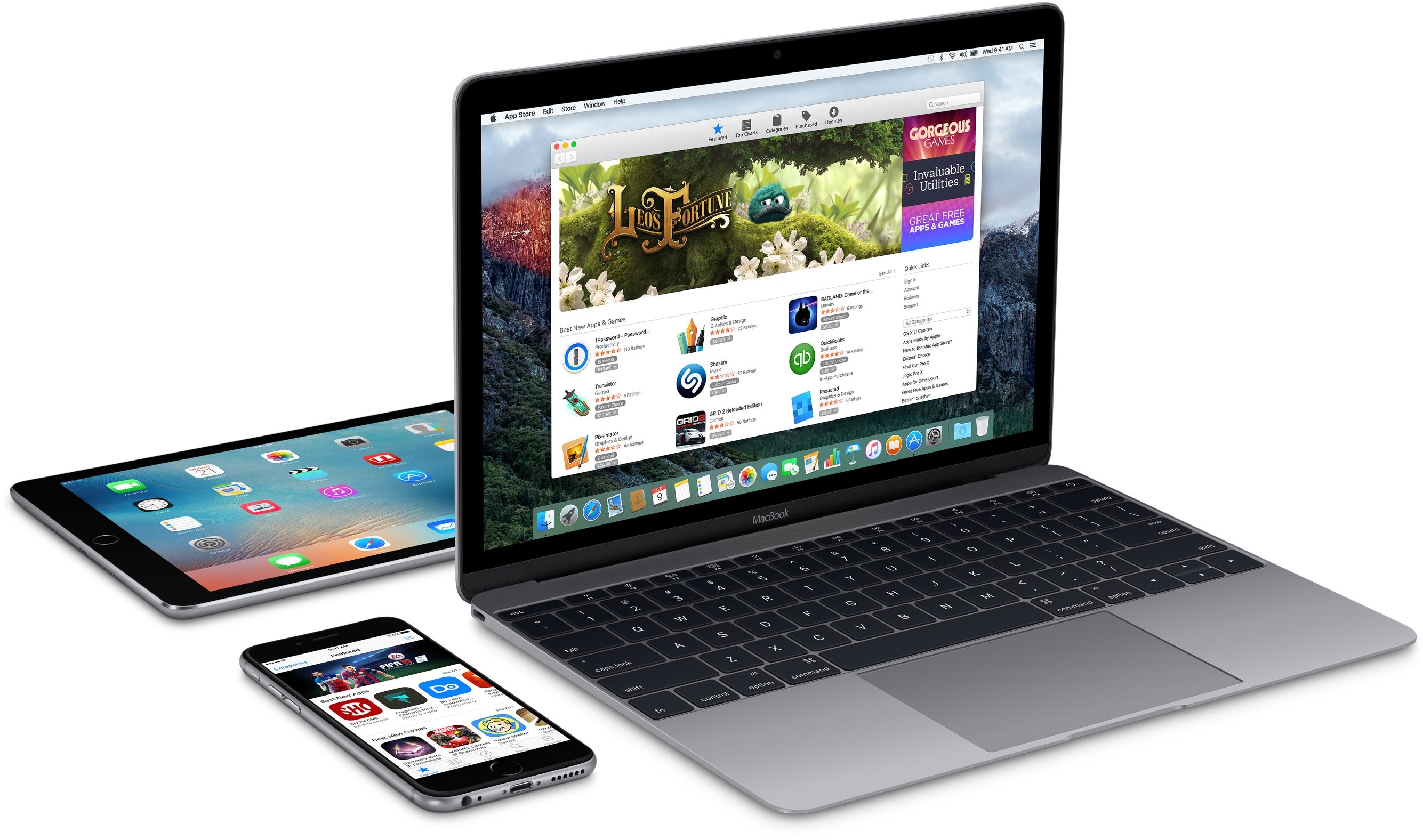 iPad, iPhone e MacBook na diagonal e de lado