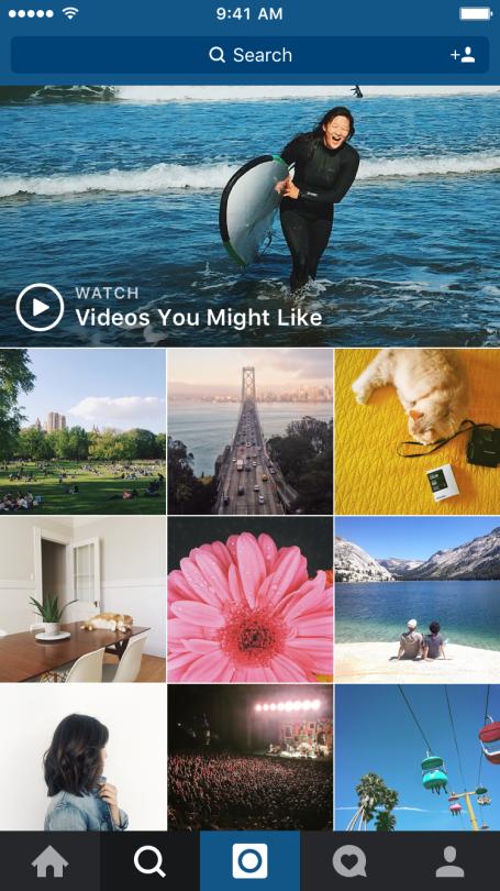 """Vídeos na seção """"Explorar"""" do Instagram"""
