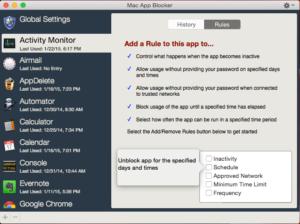 Screenshot do Mac App Blocker