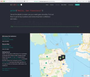 Mapa da Apple em página da WWDC 2016